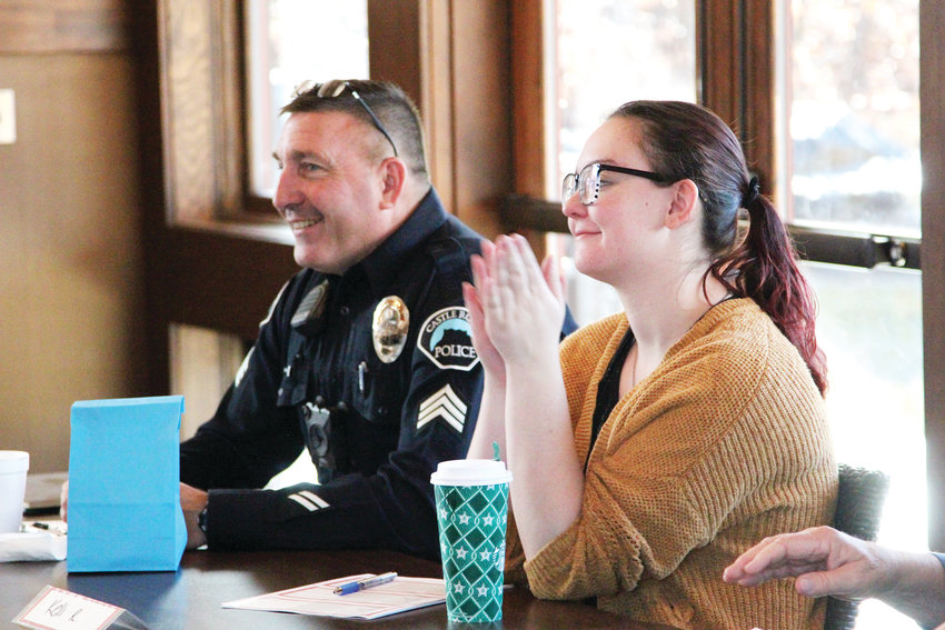 Sgt. Kevin Torrens and Kelli Rossiter served as judges for the pie baking contest on Nov. 3 in Castle Rock.