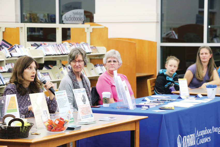 Mental health experts from private practices and local organizations, such as National Alliance on Mental Illness Arapahoe/Douglas counties and Children's Hospital Colorado, offer resources at the second Time to Talk community forum on Nov. 14 at James H. LaRue library in Highlands Ranch.