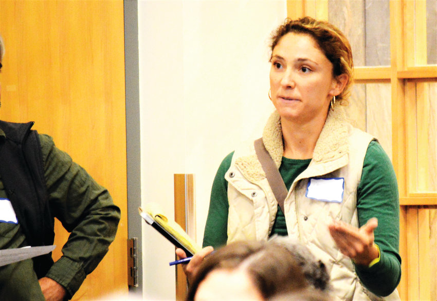 Westminster resident Charli Fant asks a representative from the Colorado Oil and Gas Conservation Commission about how drilling permit applications are reviewed Nov. 15 at Westminster's College Hill Library.