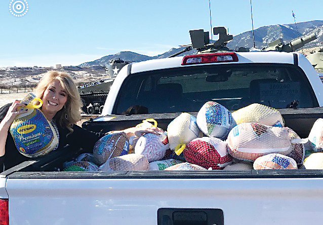 "Stacey James, of Parker, facilitated a donation drive of more than 250 turkeys for active-duty military in Fort Carson. ""It breaks my heart that those that are out fighting . ..may not be able to afford to have Thanksgiving dinner,"" James said. ""To be able to give that – I wish I could just give them a hug with it. I truly, truly am really grateful."""
