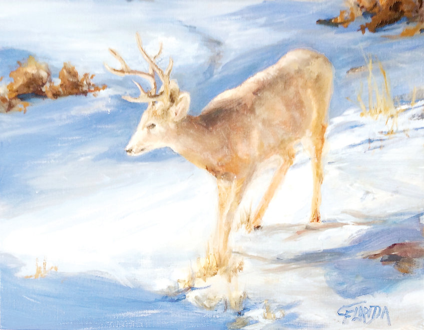 """Snowy Deer"" by Csilla Florida is a small painting available in the Christmas Market at Town Hall Arts Center."