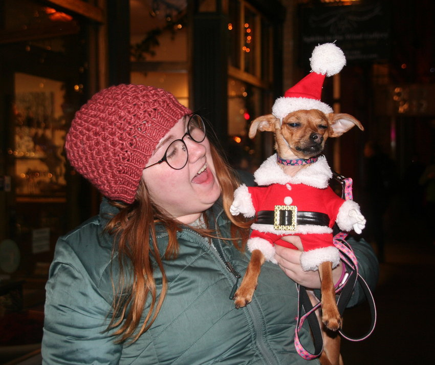 Anneliese Farmer of Golden dressed Minnie, a Chihuahua-Dotson mix, in her best Santa attire for the 31st annual Candlelight Walk on Nov. 30.
