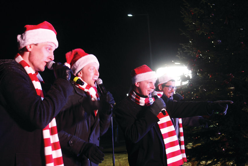 The a capella group On The Rocks sings Christmas carols at the annual tree lighting ceremony at the Lone Tree Arts Center Nov. 30.