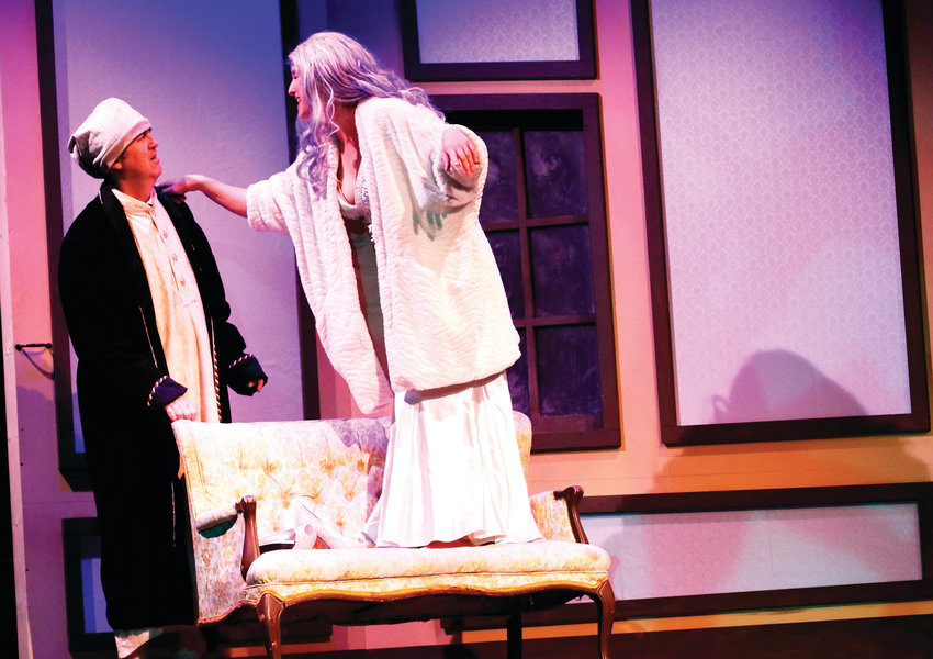 "Veteran Denver Actor Erik Sandvold, as Scrooge, hears about a scary future from the Ghost of Christmases Yet to Come in ""Twist Your Dickens"" at the Aurora Fox."
