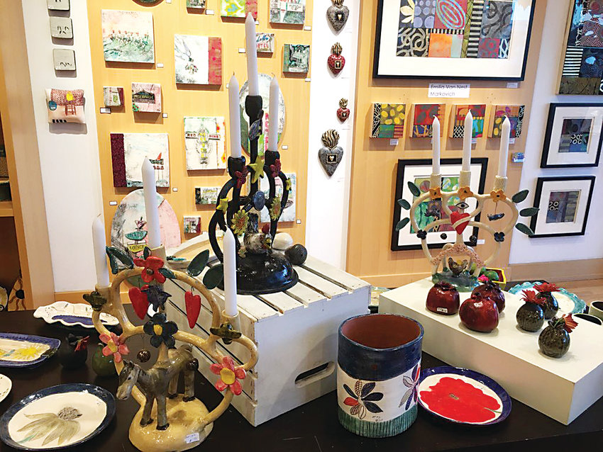A selection of ceramic gifts and available paintings from the 2017 SoSu show.