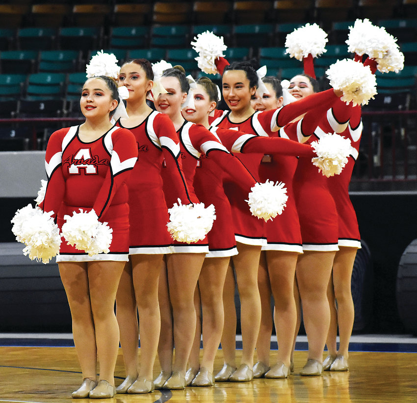 Arvada High School's poms team starts its performance during the spirit state championships Dec. 8. Arvada placed 20th in the preliminaries.