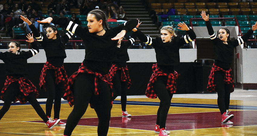 Pomona High School's hip hop dance team performs during the preliminaries of the hip hop competition at the spirit state championships. Pomona placed eighth.