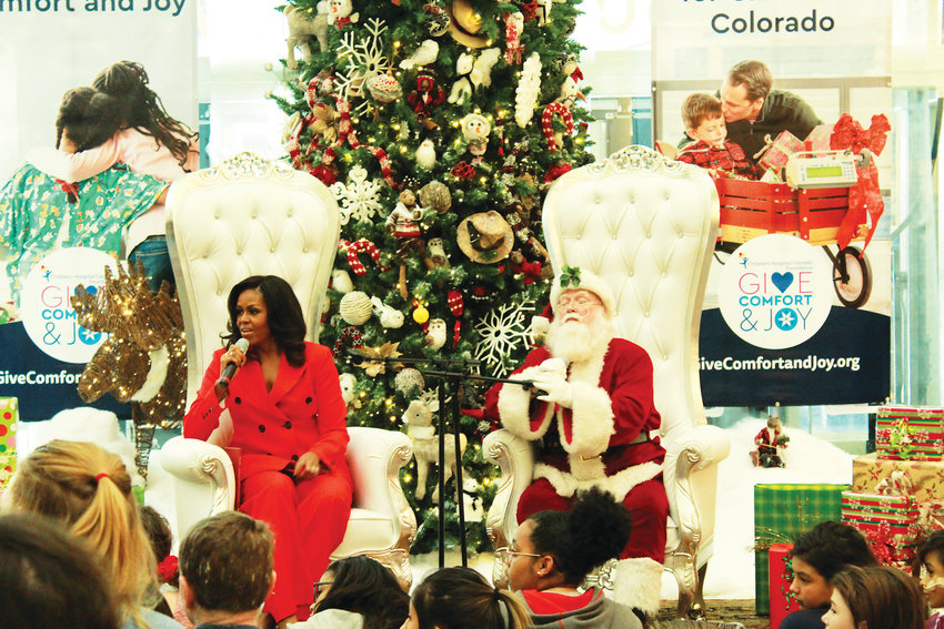 Michelle Obama answers questions from children at the Children's Hospital Colorado in Aurora.