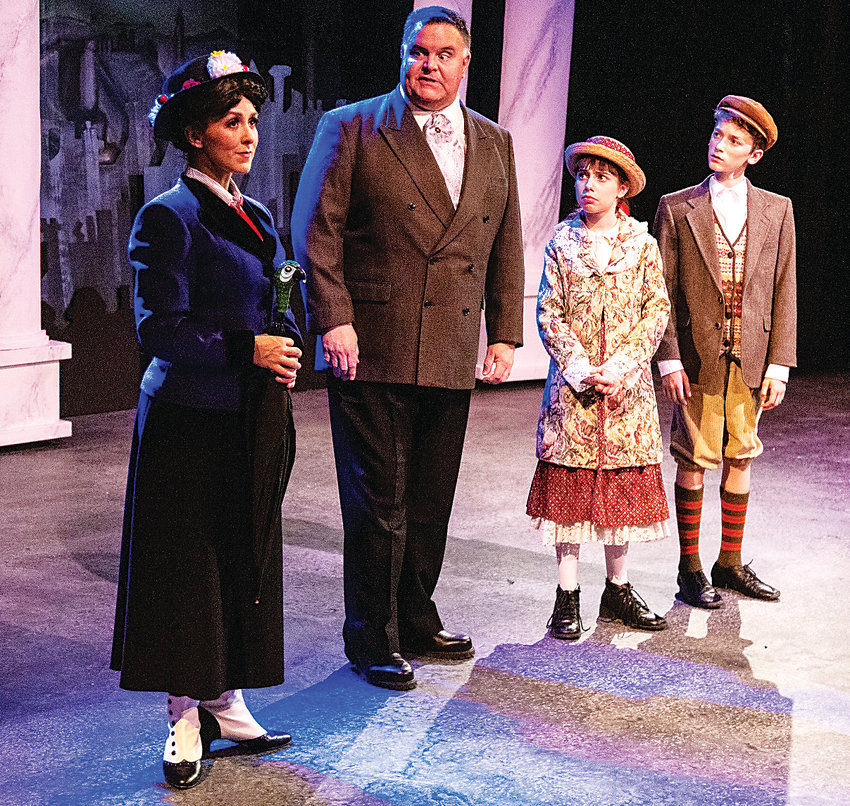 """Mary Poppins,"" the musical at Vintage Theatre. Carolyn Lohr as Mary Poppins; Michael O'Shea as a puzzled father, George Banks; Hazel Kachline as Jane Banks and Nathaniel Waite as Michael Banks."