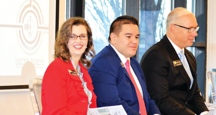 Colorado State Senators Rachel Zenzinger, Dominick Moreno and Kevin Priola tell attendees at a Metro North Chamber of Commerce breakfast in Westminster Dec. 11 what they expect will be addressed in the legislature's 2019 session.