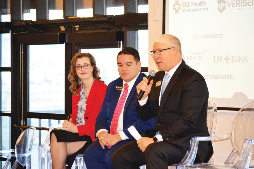 Colorado State Senator Kevin Priola, alongside colleagues  Dominick Moreno and Rachel Zenzinger, talks about state budget priorities during a Metro North Chamber of Commerce breakfast in Westminster Dec. 11