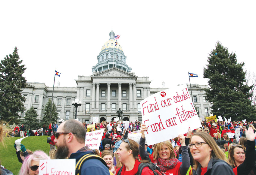 Thousands of educators from Jefferson and Douglas counties descended on the Capitol April 26 to rally for better funding for public education in Colorado.
