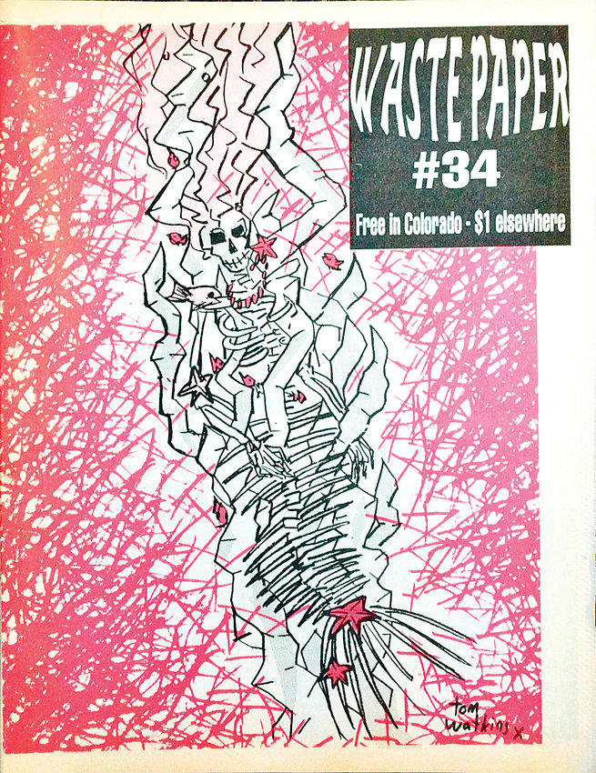 "When the store first opened, Wax Trax co-owner Duane Davis would produce ""fanzines"" with artist interviews, album reviews and art. ""Waste Paper"" was one of their ""fanzines."" This edition featured cover art by Tom Watkins."
