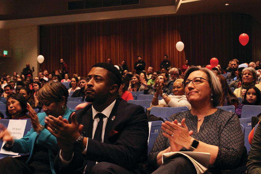 Sen. Angela Williams (D-33), left, Rep. James Coleman (D-7) and Denver City Councilmember Stacie Gilmore at a community meeting on Dec. 19 where teachers talked about a possible strike vote.