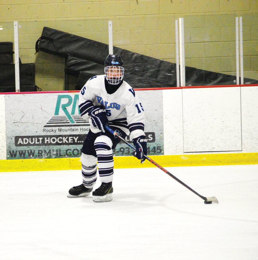 Colby Browne (15) of Valor Christian gets loose to score on a second period breakaway which got the Eagles rolling towards a 7-0 win over Mountain Vista in a game played Dec. 22 at the Ice Ranch. Browne had a goal and assist as the Eagles broke open a close game with six third period goals.