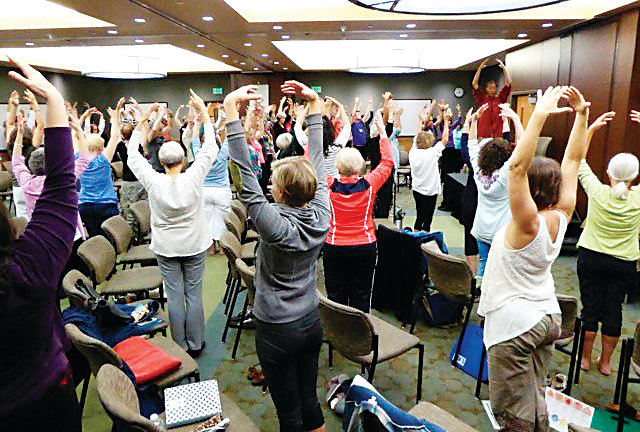 A group of people learn Chi gong during a class taught by Master Mingtong Gu, founder of the Chi Center and the Center for Wisdom Healing Qigong in New Mexico. Locals can experience chi gong during the Jan. 12 Winter Wellness Retreat: RESOLUTION KICK-OFF at Mount Vernon Canyon Club. The class will be taught by Beth Bright of Rocky Mountain Acupuncture.