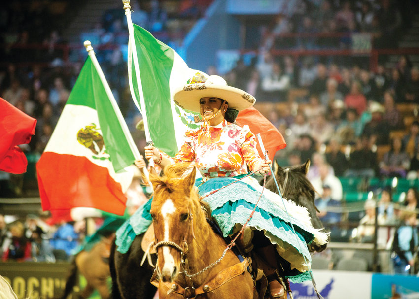 The Mexican flag is presented at the Mexican Rodeo Extravaganza on Jan. 13 during the National Western Stock Show.