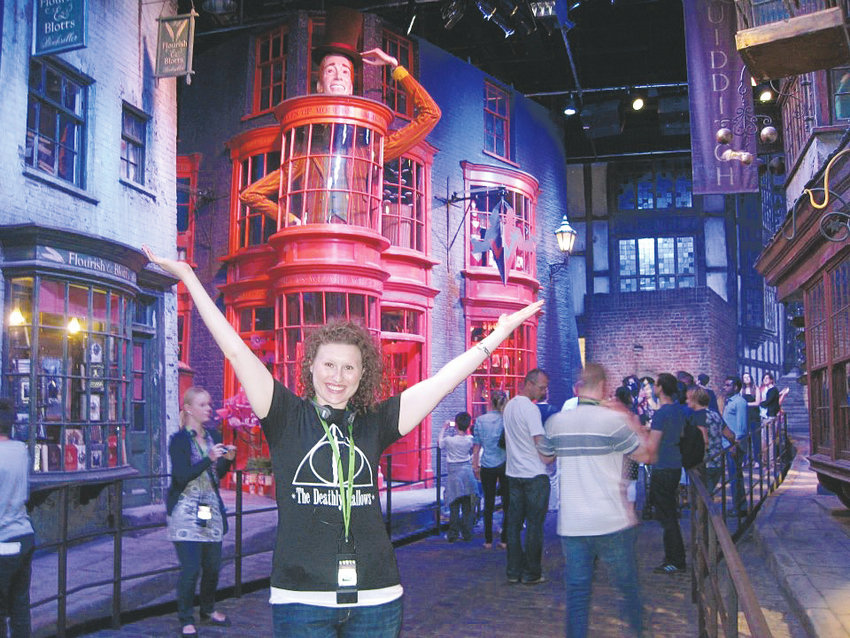 Alex Hatch pictured in London while visiting the Warner Bros. studio where Harry Potter scenes were filmed.