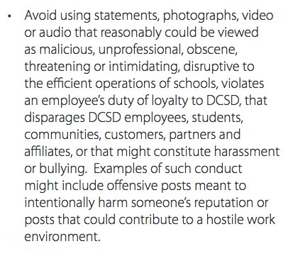 A section of the Douglas County School District's Employee Guide, in the section about social media.