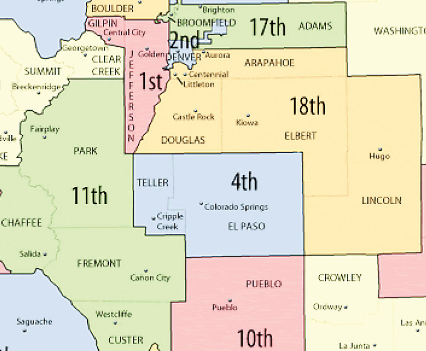 A section of the Colorado Judicial Districts map.