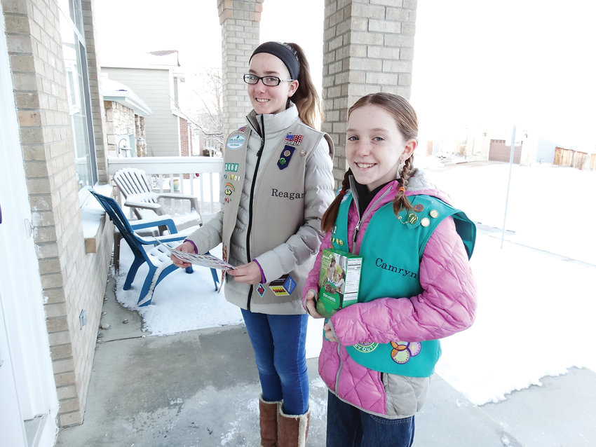 The Petitt sisters, Camryn, 10, front, and Reagan 13, both Girl Scouts in Highlands Ranch, expect they will be doing some door-to-door cookie sales together and booth cookie sales with their troops. Girl Scout Cookies went on sale on Feb. 3 and will continue through March 10.