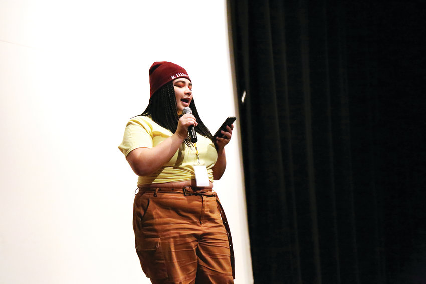 Dakota Ridge High School student Jasmine Davis performs spoken word at the 26th annual Cherry Creek Diversity Conference held Feb. 2.