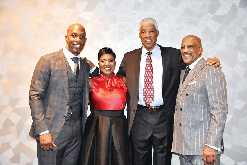 "Julius ""Dr. J"" Erving, second from right, joins the Porter-Billups Leadership Academy's leadership team Chauncey Billups (at left), Staci Porter-Bentley and Lonnie Porter."