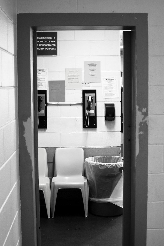 "The view from inside one of the ""bullpen"" cells near the jail's booking area, used to house numerous incoming inmates at a time. The bullpens are increasingly crowded, said Chief Vince Line, making assaults more likely."