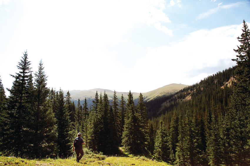 A hiker makes his way through a trail in the Arapahoe National Forest. According to the 2019 Conservation in the West Poll, 73 percent of Coloradans say the ability to live near, recreate on and enjoy public lands like national forests, parks or trails was a significant reason they live in the West.