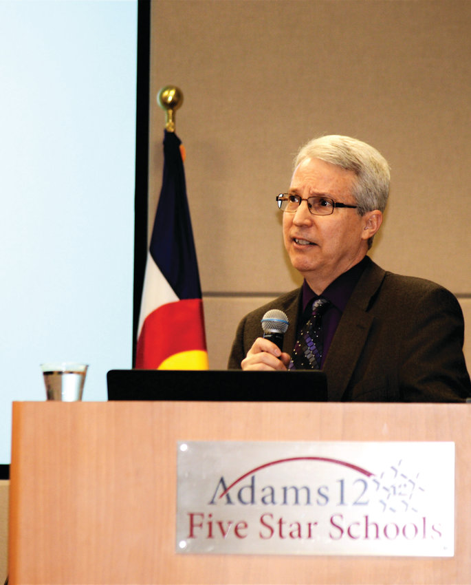 Dr. Peter Langman, an internationally recognized expert on school shootings, urged Colorado educators to look beyond stereotypes when identifying potential school shooters. Langman was speaking at a symposium on digital threats Feb. 5 at the Adams 12 Conference Center in Thornton.