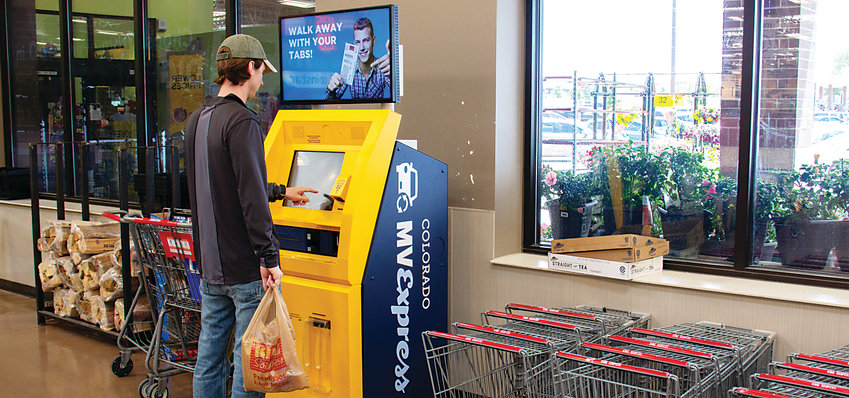 A Colorado MVExpress self-service kiosk is now set up at the King Soopers store at Wildcat Reserve and Highlands Ranch Parkway in Highlands Ranch. The kiosks offer touchscreen access to renewing registration and license plate tabs.