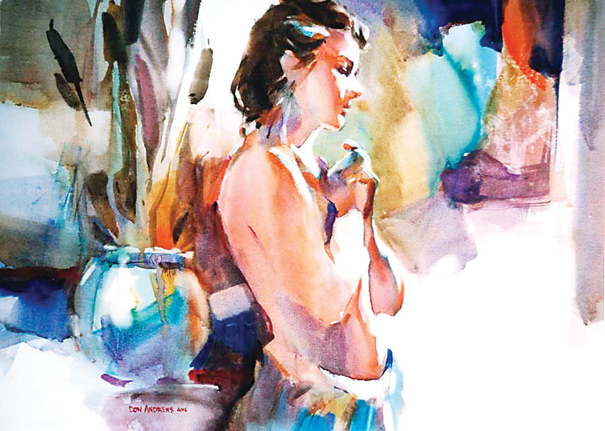 Watercolor painting by Don Andrews, who will teach a workshop on figure painting March 8 and 9.