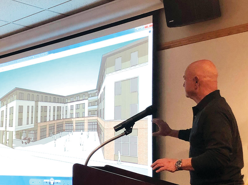 John Kilrow, senior vice president of Colorado development for Shea Properties, outlines plans for an affordable senior housing complex on a plot of land next door to James H. LaRue library, at the corner of Ridgeline Boulevard and Dorchester Street. Shea Properties intends to start construction in 2020.