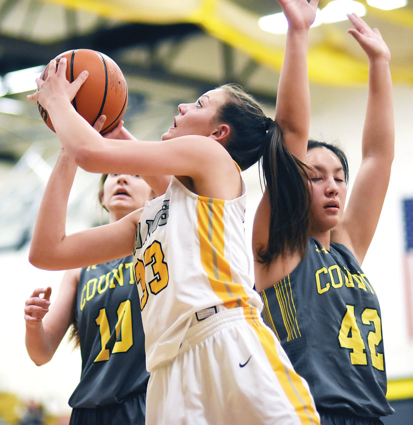 Green Mountain sophomore Courtney Hank (33) had a huge game Feb. 22 in the Class 4A second-round playoff game. Hank finished with a game-high 22 points in the Rams' 48-46 win over Pueblo County.