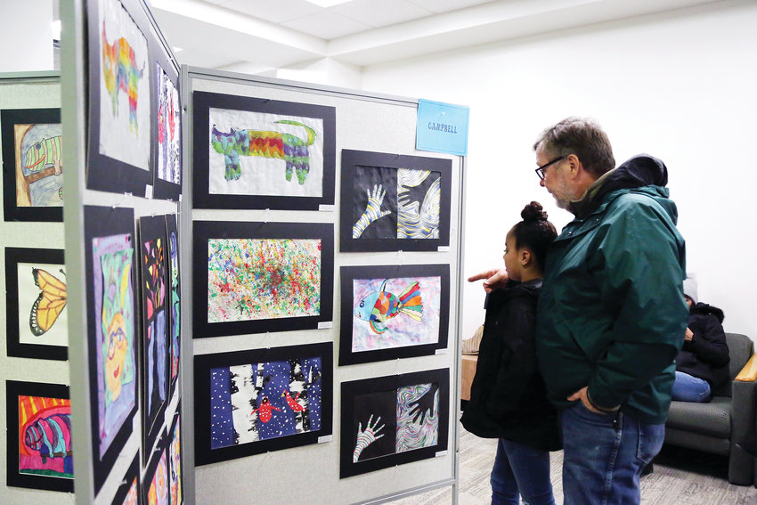Students and adults from throughout the district came to see artwork from students at the opening reception of the 2019 Elementary Jeffco Schools Foundation Art Exhibit Feb. 22.