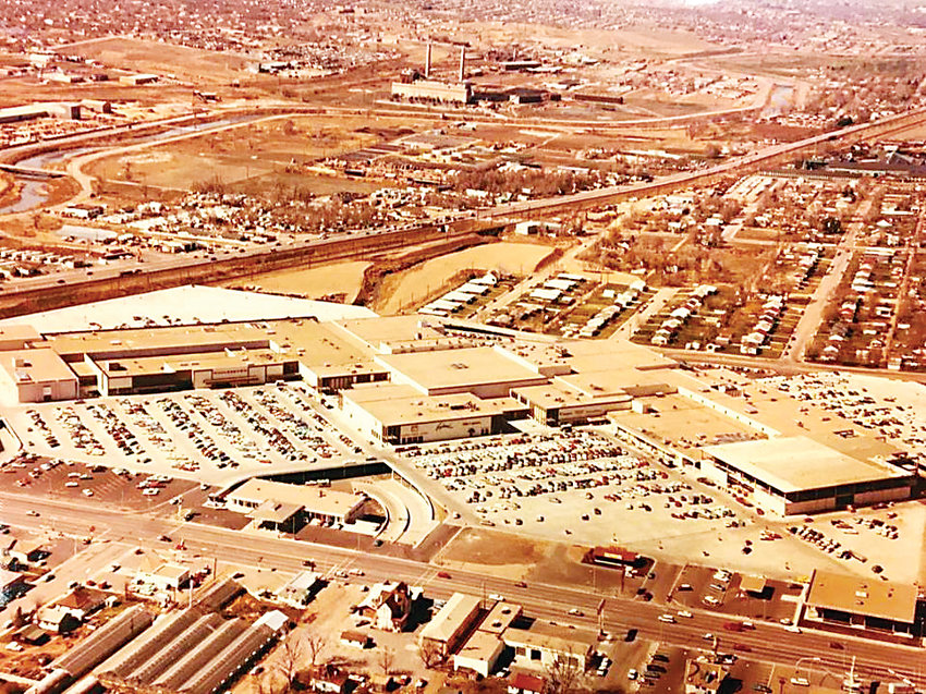 Cinderella City mall in Englewood is shown here, where CityCenter Englewood shopping center sits today. The Englewood Civic Center, the city hall, is part of the current development.