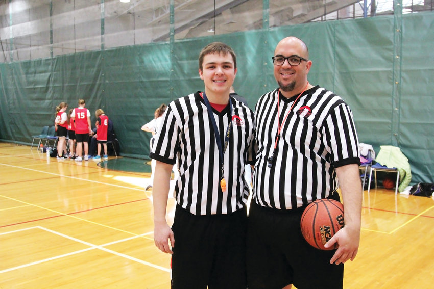 Brian Grams officiates basketball league games with his son, Joseph, 18, at the Castle Rock Recreation Center. Brian Grams got started volunteering with the league as Joseph's coach when he was in second grade.