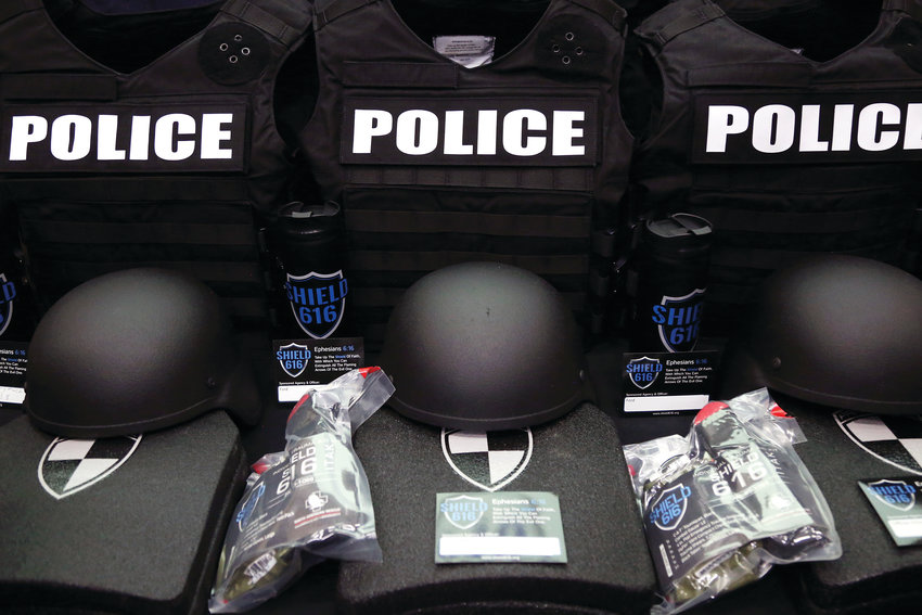 "Each armor kit donated includes a plate carrier vest that clearly reads ""police"" on the front and back; two rifle-rated armor plates; a ballistic helmet; and a trauma kit."