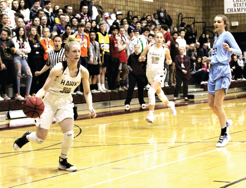 Horizon junior Olivia Waufle pushes the ball up the court Feb. 26 against Ralston Valley.