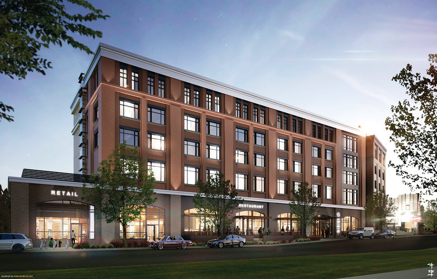 An artistic rendering of what the Origin Westminster hotel should look like when construction wraps up sometime next year. Crews broke ground on the project last fall in Downtown Westminster, the former site of the Westminster Mall.