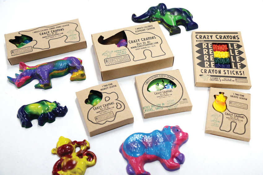 Crazy Crayons makes many animal shapes including elephants, rhinos, monkey and bears.