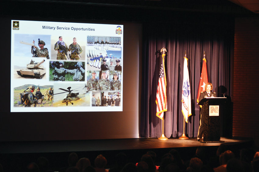 Lt. General Laura Richardson, acting commanding general of the United States Army Forces Command, talks about opportunities for women in the armed forces during a March 4 presentation at Northglenn's D.L. Parson's Theater in honor of the city's 50th anniversary and Women's History month.