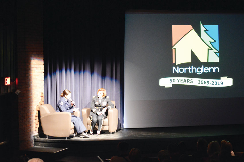 Lt. General Laura Richardson, the acting commanding general of the United States Army Forces Command, answers questions from Northglenn High School Junior ROTC Cadet Gabriella Gomez March 4 at Northglenn's D.L. Parson's Theater. Richardson, a Northglenn native, recounted her formative years in the community and how what she learned helped form her military career. The presentation was in honor of the city's 50th anniversary and Women's History month.