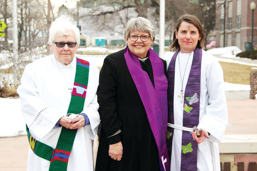 From left, Sister Carol Weaver of Well of Hope Lutheran Church in Castle Rock, Vicar Janet Fullmer of St. Philip in the Field in Sedalia and and Pastor Julie McNitt, also of Well of Hope, distribute ashes at Ashes to Go on March 6. Christ's Episcopal Church in Castle Rock also hosts the event.
