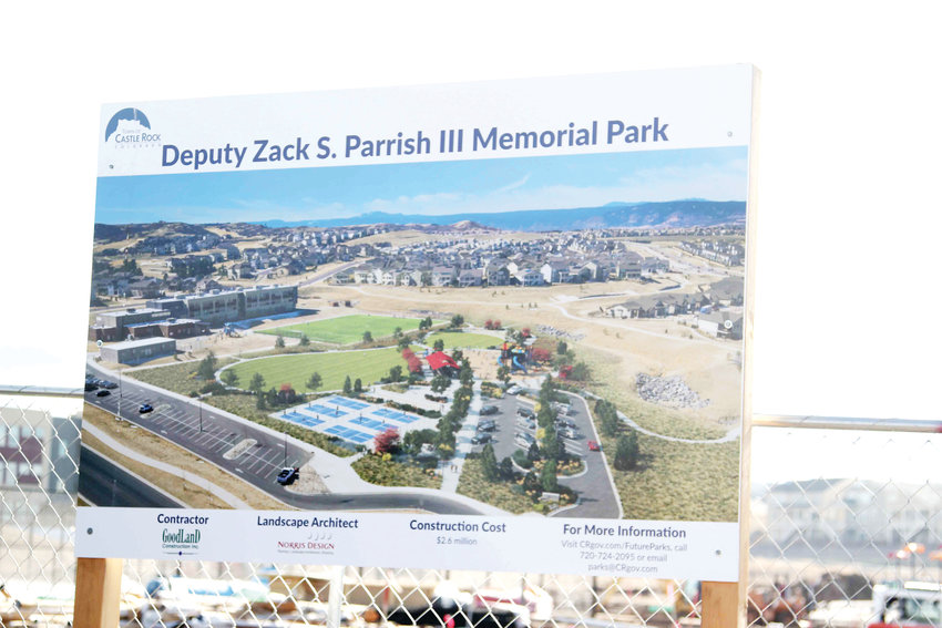The Deputy Zack S. Parrish III Memorial Park is Castle Rock's newest neighborhood park. At $2.6 million, it is expected to be completed this summer.