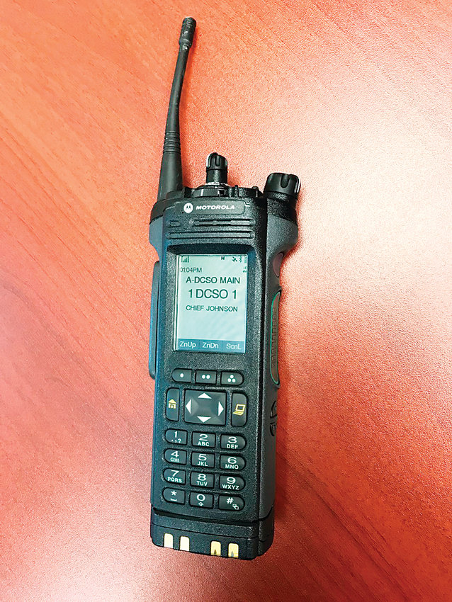 The Douglas County Sheriff's Office encrypted two of its four main radio channels approximately six months ago, which it hopes will make it easier for deputies using radios like this one to find secure lines during serious incidents.
