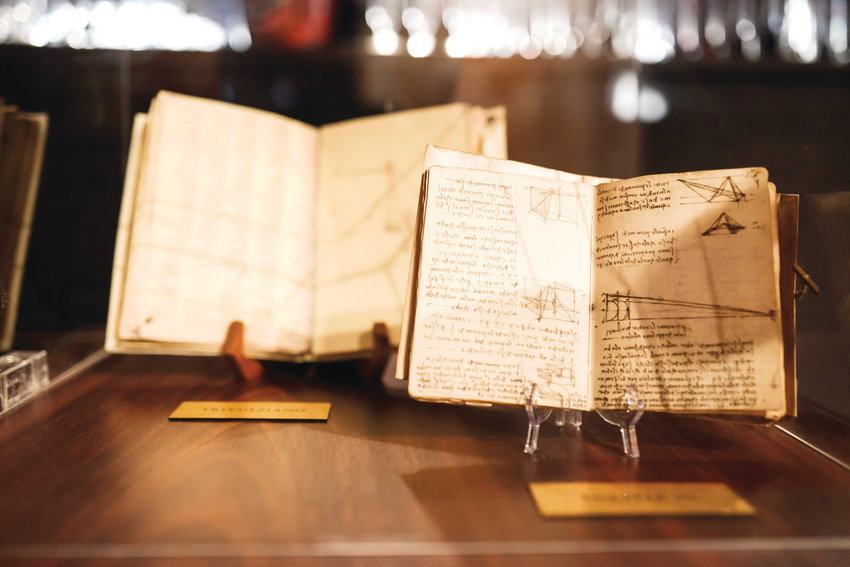 "The ""Leonardo da Vinci: 500 Years of Genius"" exhibit features replicas of da Vinci's codicies, which are collections of his books, notes, sketches, designs and more."