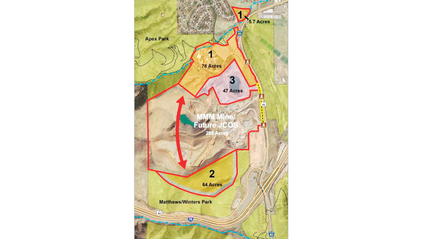 If the proposed land exchange is to happen, Jefferson County Open Space would receive 83.7 acres from Martin Marietta Materials — the former Heritage Square site and the Bachman property, labeled number 1.  Jeffco Open Space would deed 64 acres of Matthews/Winters Park to Martin Marietta to expand the life of the quarry, labeled 2.  Once mining operations are complete, decades from now, Martin Marietta will deed the land labeled 3, an additional 47 acres, to Jeffco Open Space.