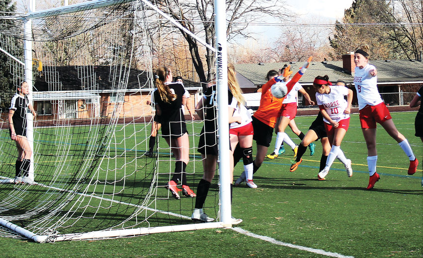 Lady Norse junior Samantha Dominguez-Reyes heads in Northglenn's first goal of the season March 7 at Lakewood.
