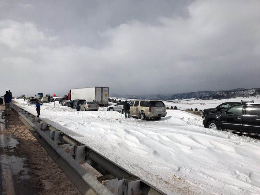 "The Douglas County Sheriff's Office shared this photo of southbound I-25 just north of the Palmer Divide on Twitter about 11 a.m. March 14. ""This is why I25 isn't open yet,"" the Tweet said."